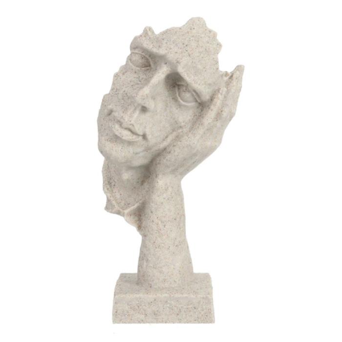 Sculpture Norvégienne Abstrait - Ecoute Décor Statue Ornement Résine Bureau de Jardin Blanc