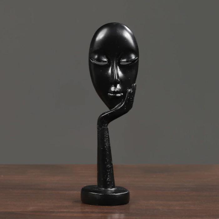 Penseur Sculpture Image Abstraite - Décor Statue Ornement Résine Bureau De Jardin Noir
