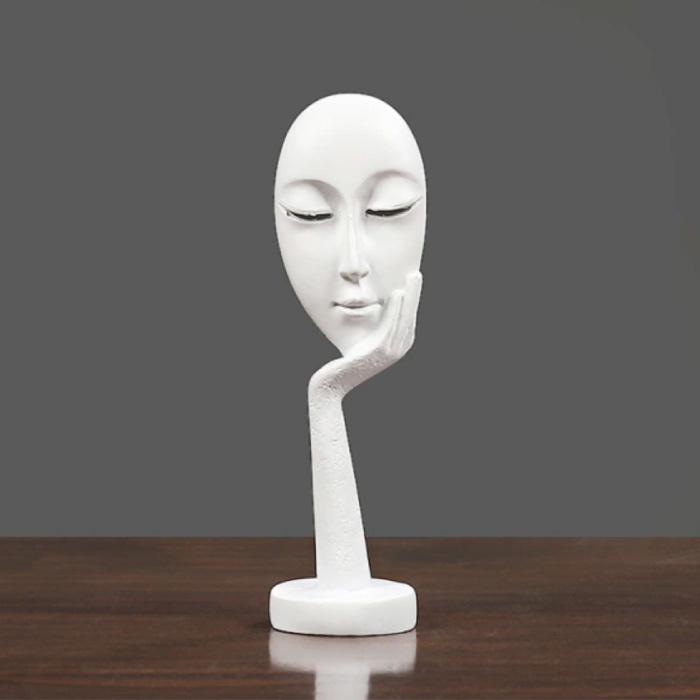 Penseur Sculpture Image Abstraite - Décor Statue Ornement Résine Bureau De Jardin Blanc