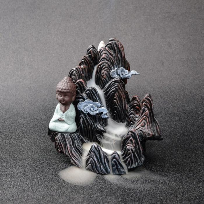 Aromatherapie Sier Wierookbrander Waterval Terugstromen - Backflow Incense Burner Feng Shui Decor Hars Ornament Blauw
