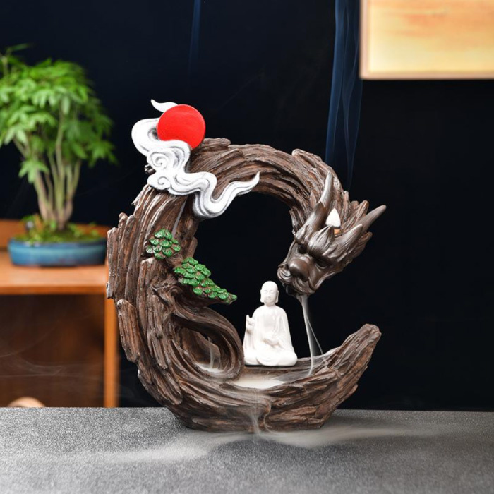 Aromatherapy Ornamental Incense Burner Waterfall Backflow - Backflow Incense Burner Feng Shui Decor Resin Ornament
