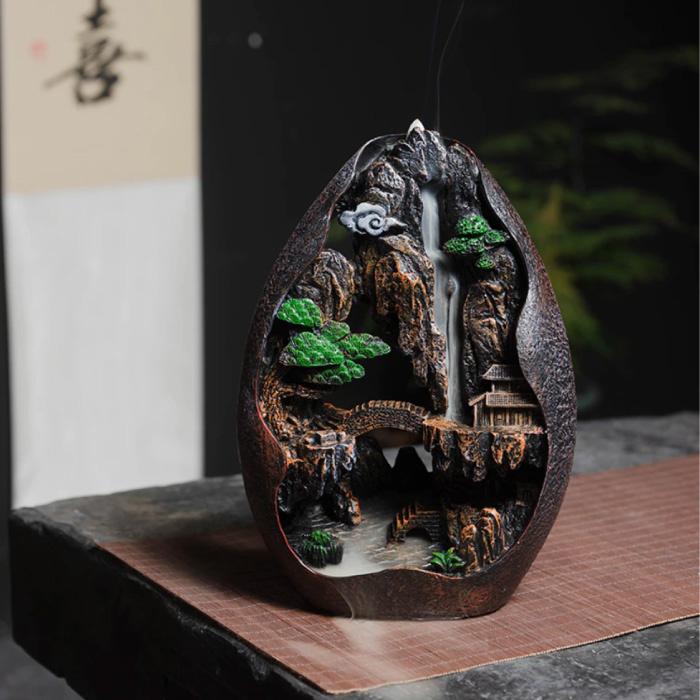Aromatherapy Ornamental Incense Burner Waterfall Backflow - Backflow Incense Burner Feng Shui Decor Resin Ornament - Copy