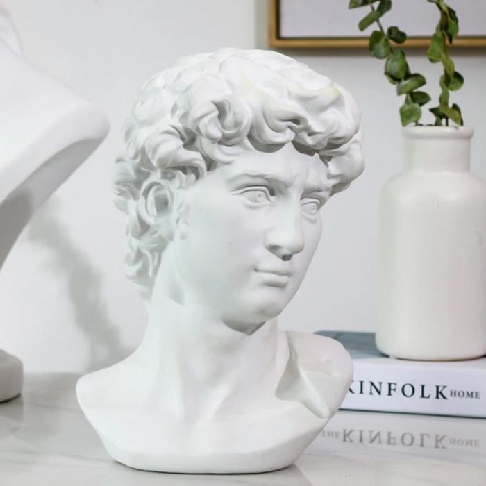 David by Michelangelo - Tête Statue Sculpture Décor Ornement Résine Bureau De Jardin Blanc