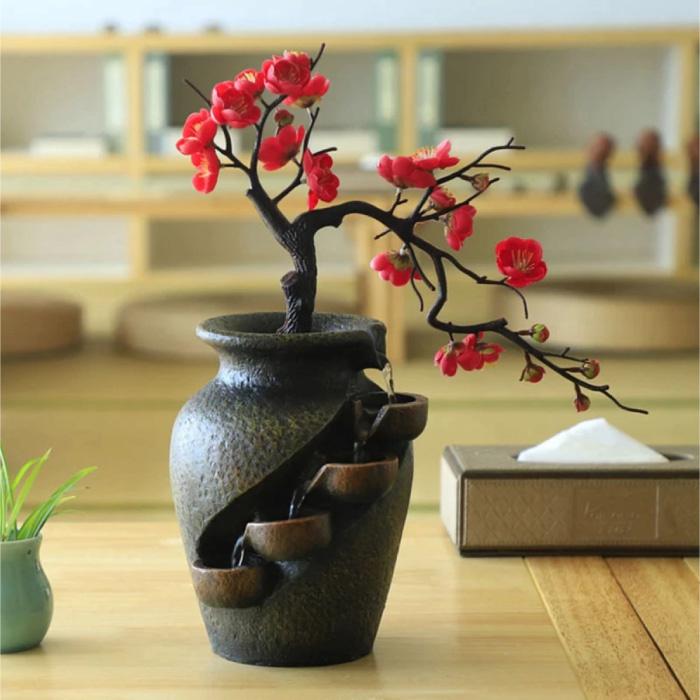 Ornamental Waterfall Zen Garden - Plant Vase Feng Shui Fountain Decor Ornament