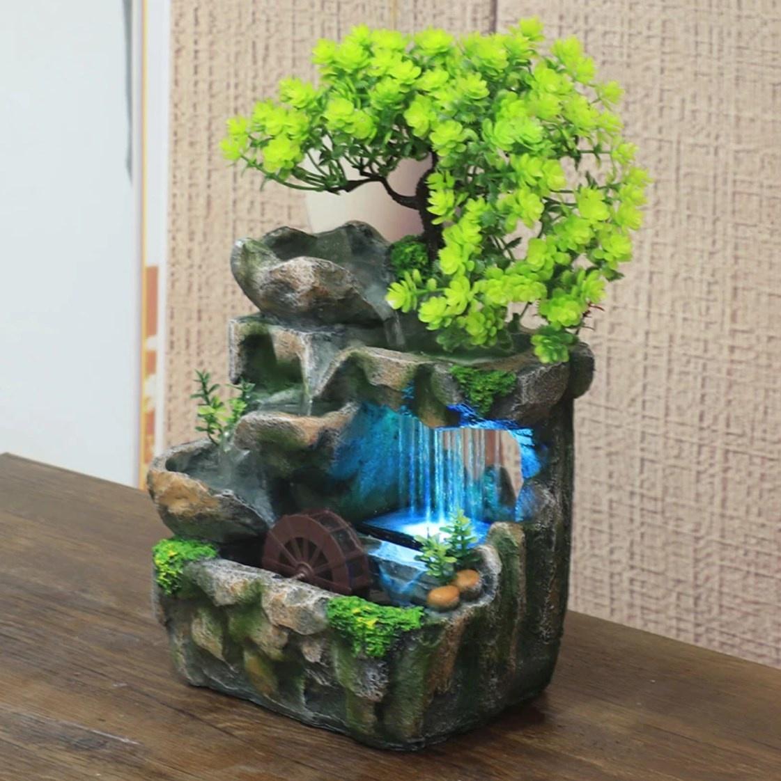 Ornamental Waterfall Zen Garden - Plant Vase Feng Shui Fountain Decor Ornament - Copy