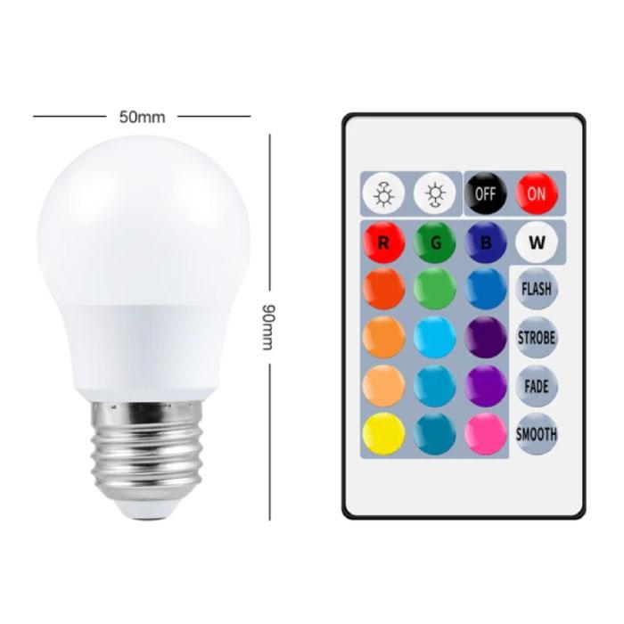 Ampoule LED 5W (Chaud) - Eclairage RVB avec Télécommande IR E27 220V Réglage des Couleurs
