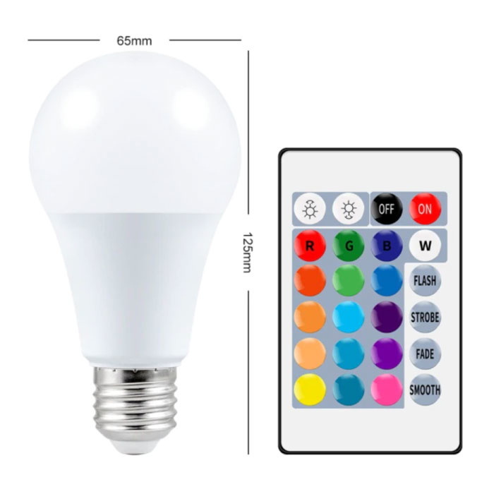LED Bulb 15W (Warm) - RGB Lighting with IR Remote Control E27 220V Color Adjustment
