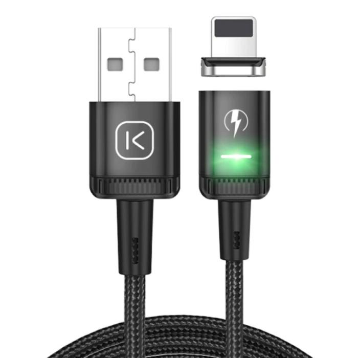 iPhone Lightning Magnetische Oplaadkabel 1 Meter met LED Lampje - 3A Fast Charging Gevlochten Nylon Oplader Data Kabel Android Zwart