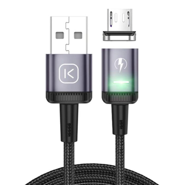 Câble de charge magnétique micro USB 2 mètres avec lumière LED - Câble de données pour chargeur en nylon tressé à charge rapide 3A Android Rouge
