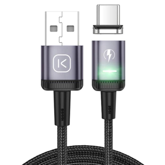 USB-C Magnetische Oplaadkabel 2 Meter met LED Lampje - 3A Fast Charging Gevlochten Nylon Oplader Data Kabel Android Paars