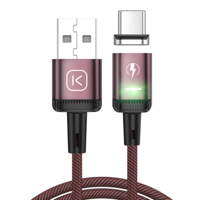 USB-C Magnetische Oplaadkabel 2 Meter met LED Lampje - 3A Fast Charging Gevlochten Nylon Oplader Data Kabel Android Rood