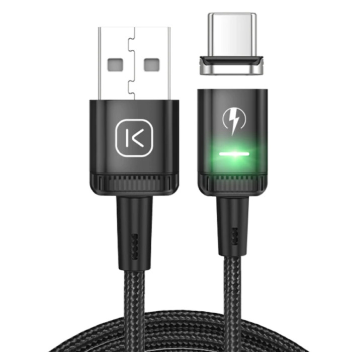 USB-C Magnetic Charging Cable 2 Meters with LED Light - 3A Fast Charging Braided Nylon Charger Data Cable Android Black