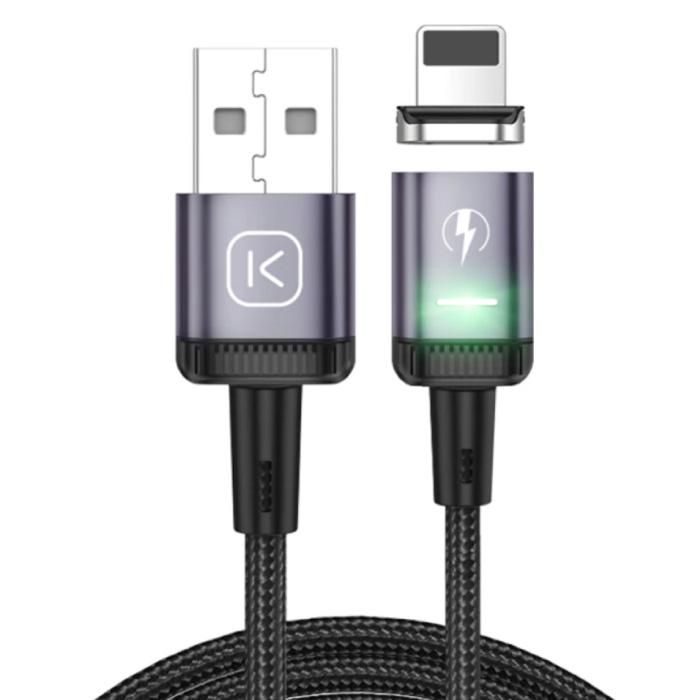 iPhone Lightning Magnetische Oplaadkabel 2 Meter met LED Lampje - 3A Fast Charging Gevlochten Nylon Oplader Data Kabel Android Paars