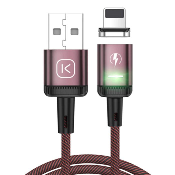 iPhone Lightning Magnetische Oplaadkabel 2 Meter met LED Lampje - 3A Fast Charging Gevlochten Nylon Oplader Data Kabel Android Rood
