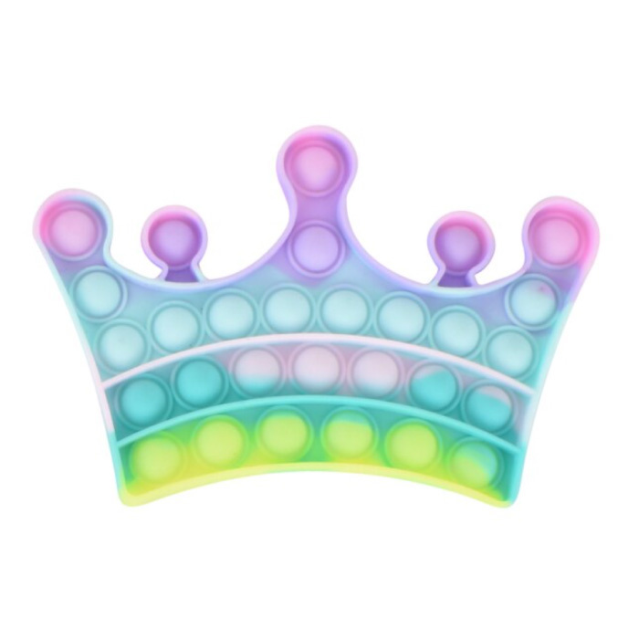 Pop It - Fidget Anti Stress Toy Bubble Toy Silicone Crown Rainbow
