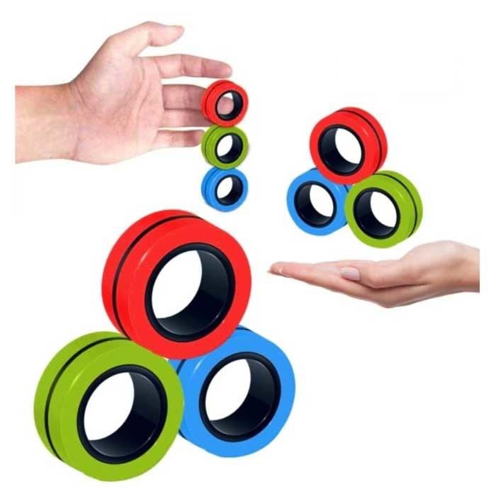 Lot de 3 anneaux magnétiques Fidget Spinner - Jouet anti-stress à main Spinner Rouge-Vert-Bleu