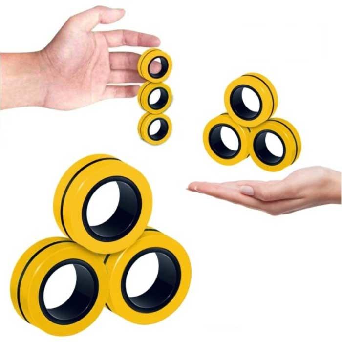 Lot de 3 anneaux magnétiques Fidget Spinner - Jouet anti-stress à main Spinner jaune