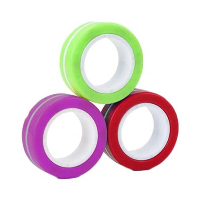 Lot de 3 anneaux magnétiques Fidget Spinner - Jouet anti-stress à main Spinner Violet-Vert-Rouge