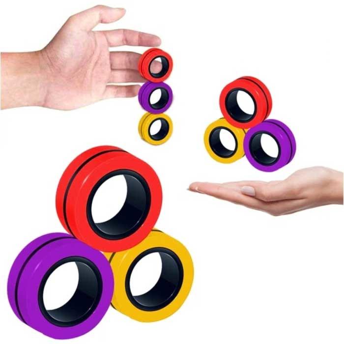 Lot de 3 anneaux magnétiques Fidget Spinner - Jouet anti-stress à main Spinner rouge-jaune-violet