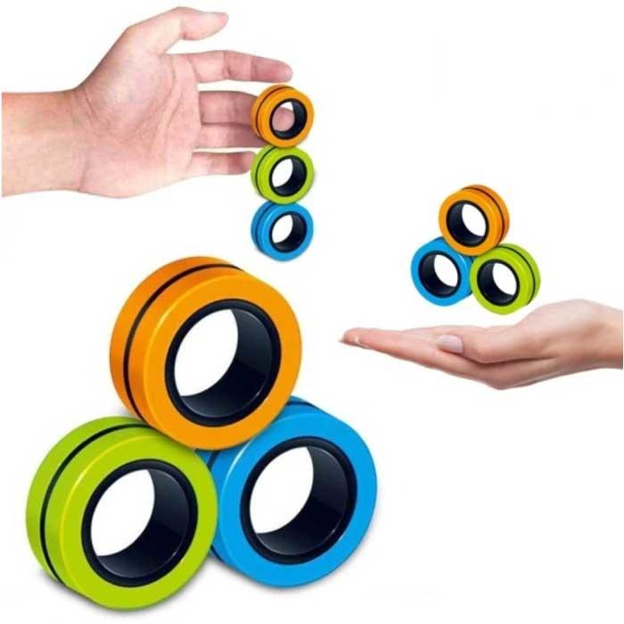 Lot de 3 anneaux magnétiques Fidget Spinner - Jouet anti-stress à main Spinner Orange-Vert-Bleu