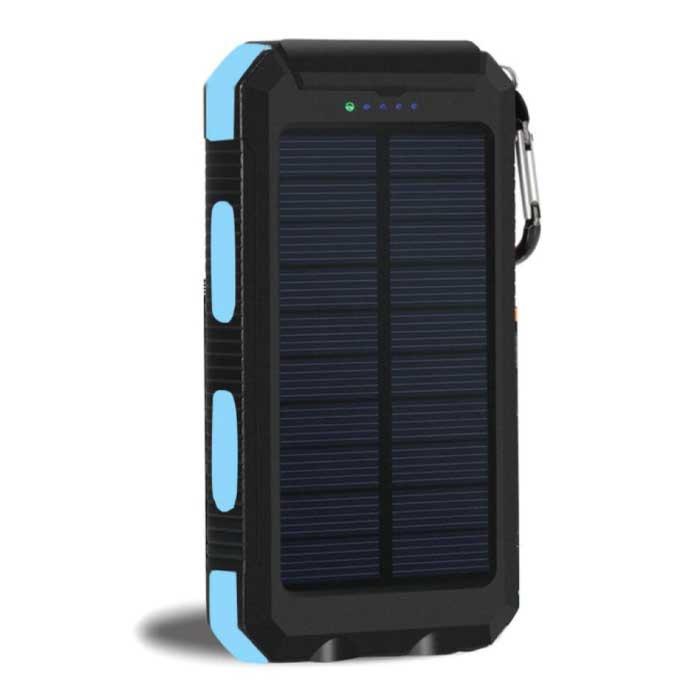 Solar Charger 20.000mAh met Zaklamp - Externe Powerbank Zonnepaneel Noodaccu Batterij Oplader Zon Blauw