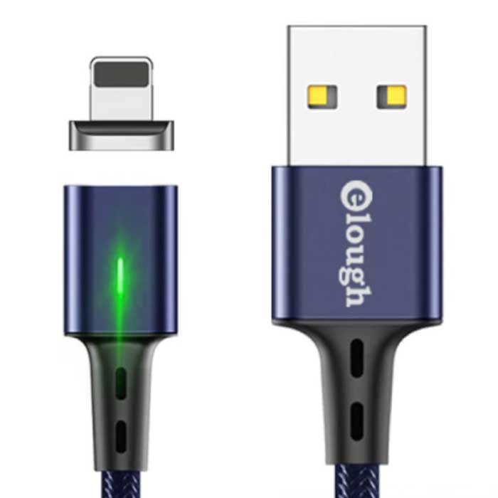 iPhone Lightning Magnetische Oplaadkabel 2 Meter met LED Lampje - 3A Fast Charging Gevlochten Nylon Oplader Data Kabel Android Blauw