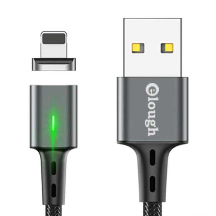 iPhone Lightning Magnetische Oplaadkabel 2 Meter met LED Lampje - 3A Fast Charging Gevlochten Nylon Oplader Data Kabel Android Grijs