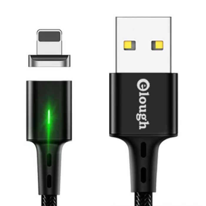 iPhone Lightning Magnetische Oplaadkabel 2 Meter met LED Lampje - 3A Fast Charging Gevlochten Nylon Oplader Data Kabel Android Zwart