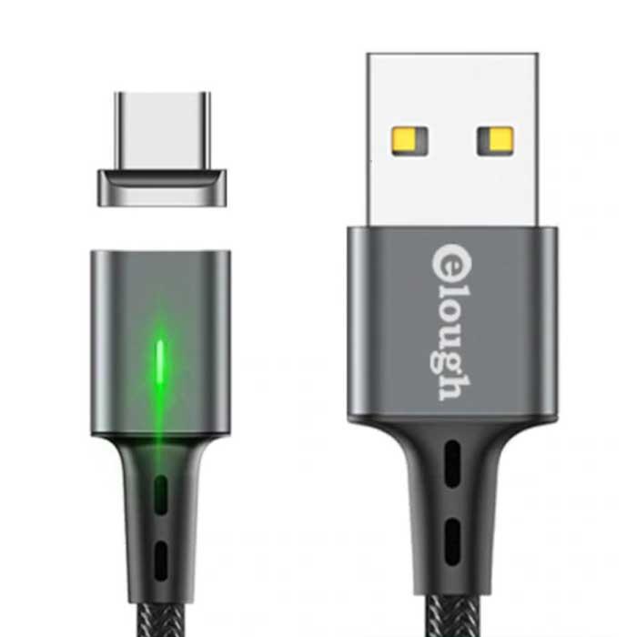 USB-C Magnetische Oplaadkabel 2 Meter met LED Lampje - 3A Fast Charging Gevlochten Nylon Oplader Data Kabel Android Grijs