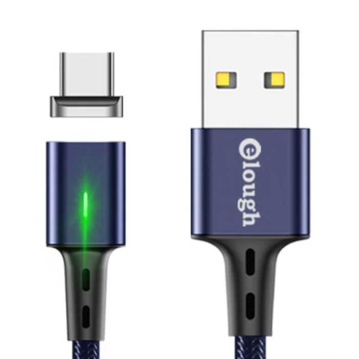 USB-C Magnetische Oplaadkabel 2 Meter met LED Lampje - 3A Fast Charging Gevlochten Nylon Oplader Data Kabel Android Blauw