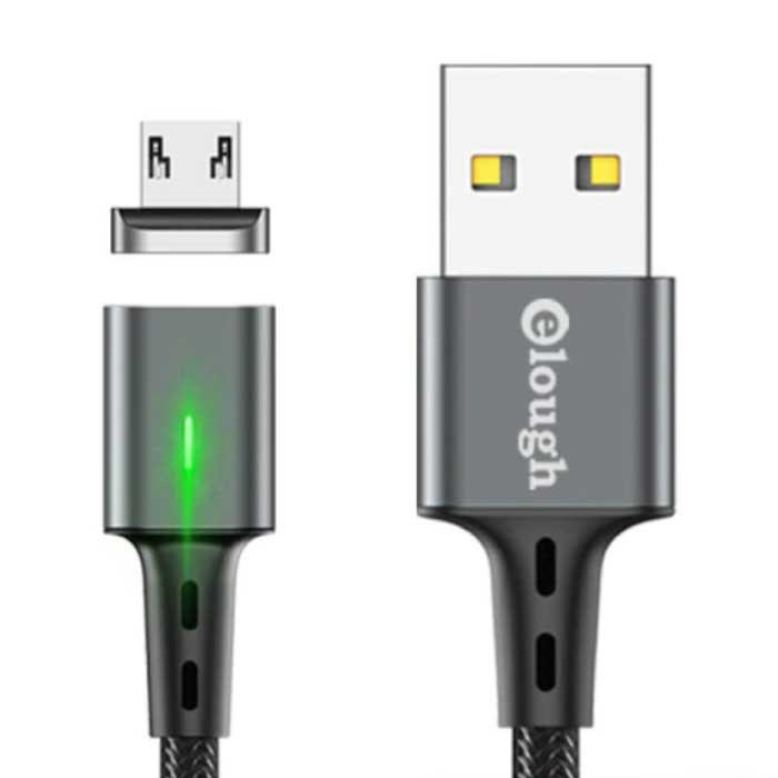 Micro-USB Magnetische Oplaadkabel 2 Meter met LED Lampje - 3A Fast Charging Gevlochten Nylon Oplader Data Kabel Android Grijs