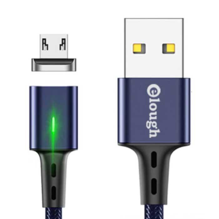 Micro-USB Magnetische Oplaadkabel 2 Meter met LED Lampje - 3A Fast Charging Gevlochten Nylon Oplader Data Kabel Android Blauw