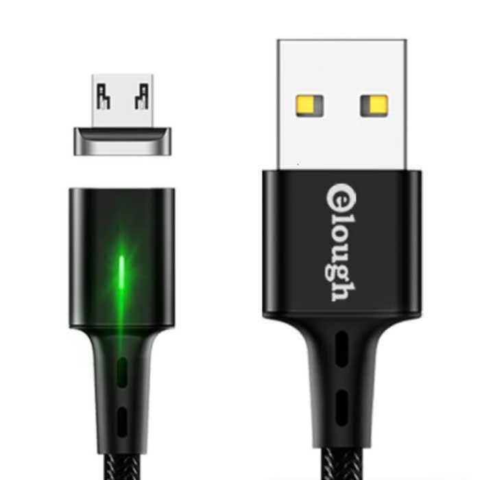 Micro-USB Magnetische Oplaadkabel 2 Meter met LED Lampje - 3A Fast Charging Gevlochten Nylon Oplader Data Kabel Android Zwart