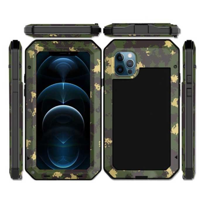 iPhone 5 360°  Full Body Case Tank Hoesje + Screenprotector - Shockproof Cover Metaal Camo