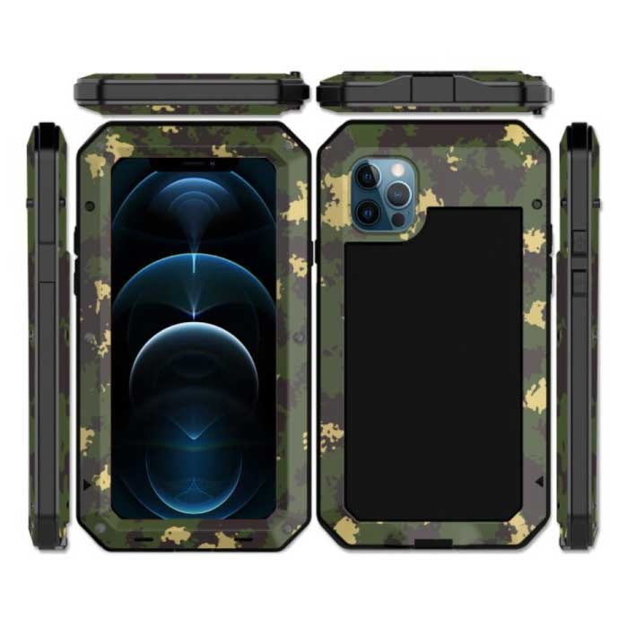 iPhone SE 360° Full Body Case Tank Cover + Screen Protector - Shockproof Cover Metal Camo