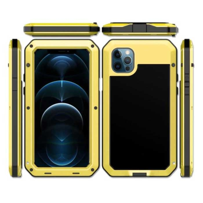 iPhone 12 Pro Max 360° Full Body Case Tank Cover + Screen Protector - Shockproof Cover Metal Gold