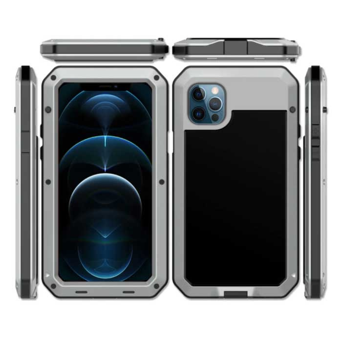 iPhone 12 Pro Max 360° Full Body Case Tank Cover + Screen Protector - Shockproof Cover Metal Silver