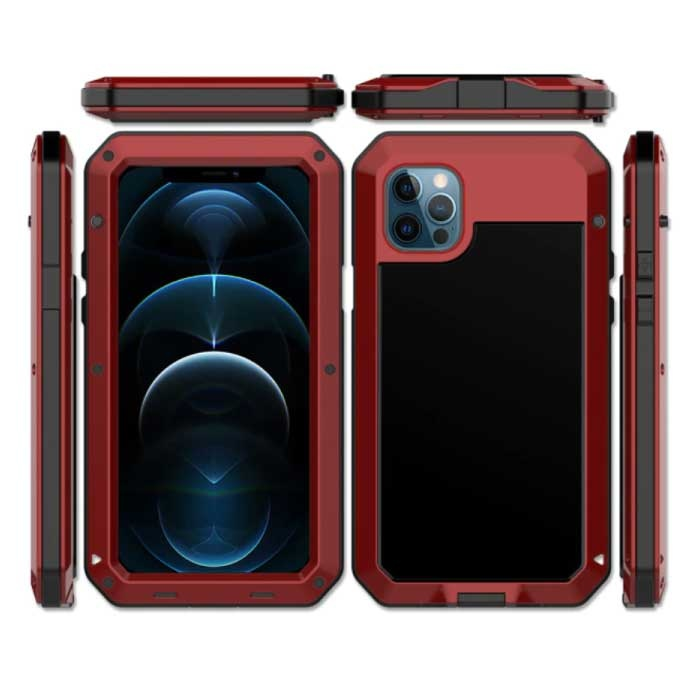 iPhone 5 360° Full Body Case Tank Cover + Screen Protector - Shockproof Cover Metal Red