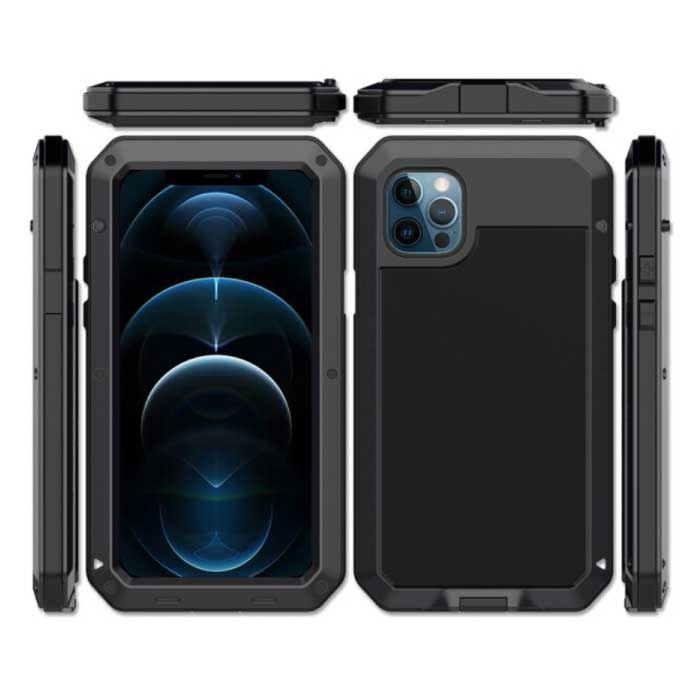 iPhone 12 Pro Max 360° Full Body Case Tank Cover + Screen Protector - Shockproof Cover Metal Black