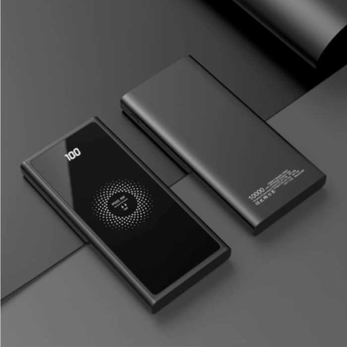 10.000mAh Draadloze Qi Oplader + Powerbank - Quick Charge 4.0 Noodaccu Wireless Charger Pad Zwart