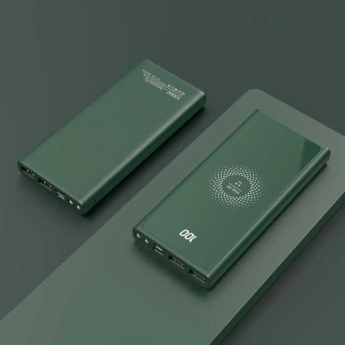 10.000mAh Draadloze Qi Oplader + Powerbank - Quick Charge 4.0 Noodaccu Wireless Charger Pad Groen