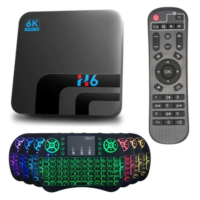 H6 TV Box Mediaspeler 6K met Draadloos RGB Toetsenbord - Android Kodi - 4GB RAM - 64GB Opslagruimte