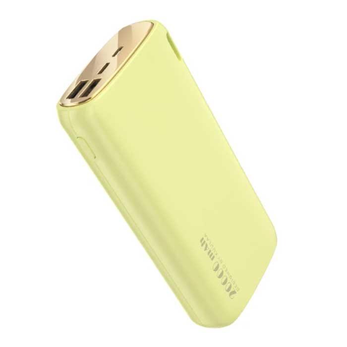 Powerbank 20.000mAh - 2.1A met 2 USB Poorten - Externe Noodaccu Oplader Charger Geel