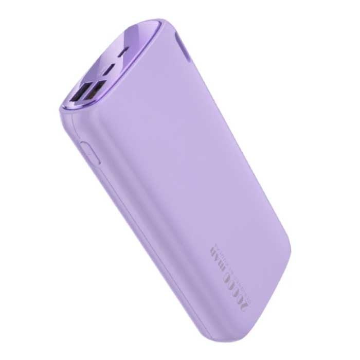 Powerbank 20.000mAh - 2.1A avec 2 Ports USB - Chargeur de Batterie Externe d'Urgence Violet