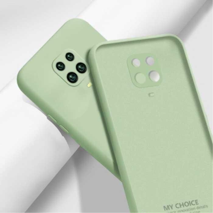 Xiaomi Redmi Note 10S Carré Silicone Case - Soft Matte Case Liquid Cover Vert
