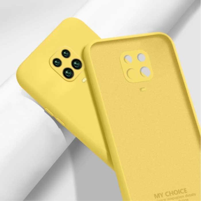 Xiaomi Redmi Note 10 Carré Silicone Case - Soft Matte Case Liquid Cover Jaune