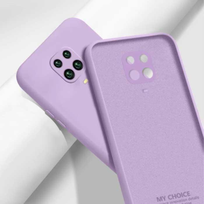Xiaomi Redmi Note 10S Carré Silicone Case - Soft Matte Case Liquid Cover Violet