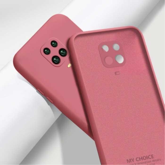 Xiaomi Redmi Note 10 Pro Square Silicone Hoesje - Zachte Matte Case Liquid Cover Donkerroze