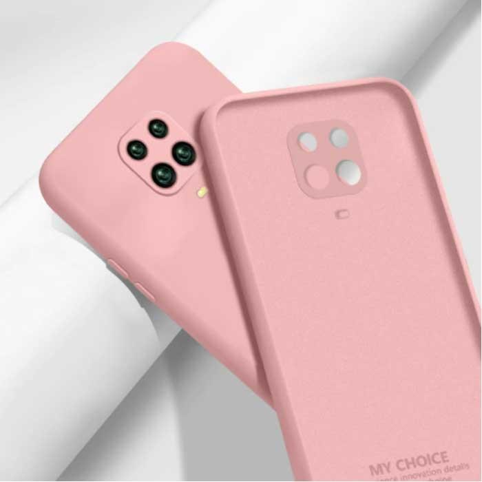 Xiaomi Redmi Note 10S Square Silicone Case - Soft Matte Case Liquid Cover Pink