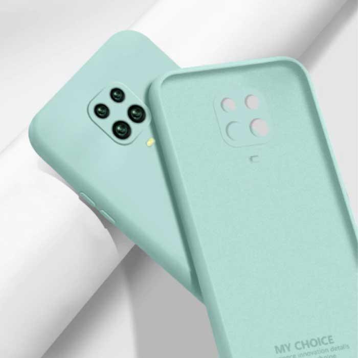 Xiaomi Redmi Note 9T Carré Silicone Case - Soft Matte Case Liquid Cover Light Green